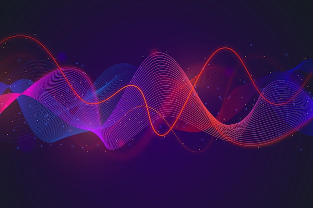 Gradient red and blue equalizer wave background Free Vector
