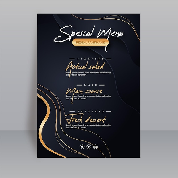 Gradient restaurant menu template Free Vector