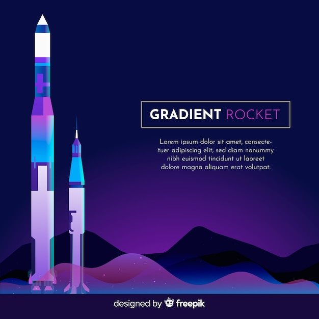 Gradient rocket background template Free Vector