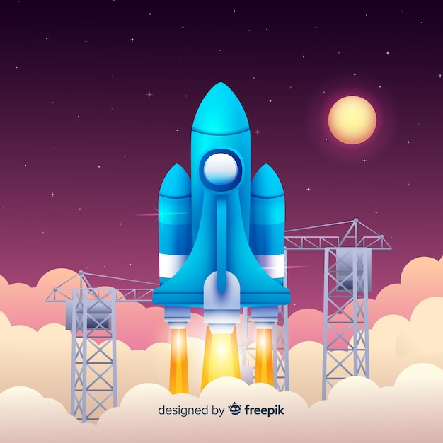 Gradient rocket background Free Vector