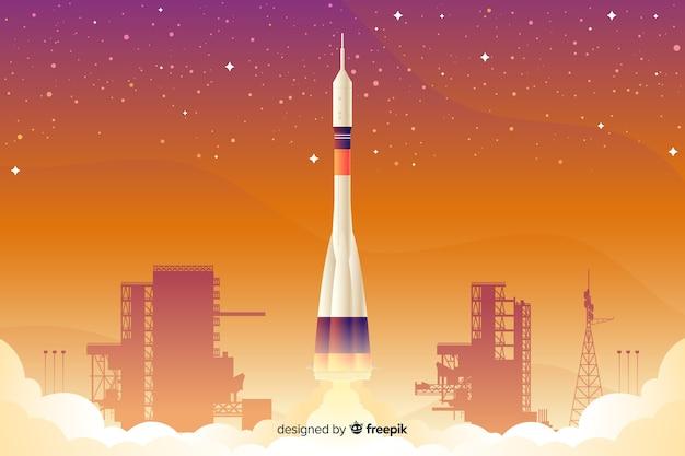 Gradient rocket background Free Vector