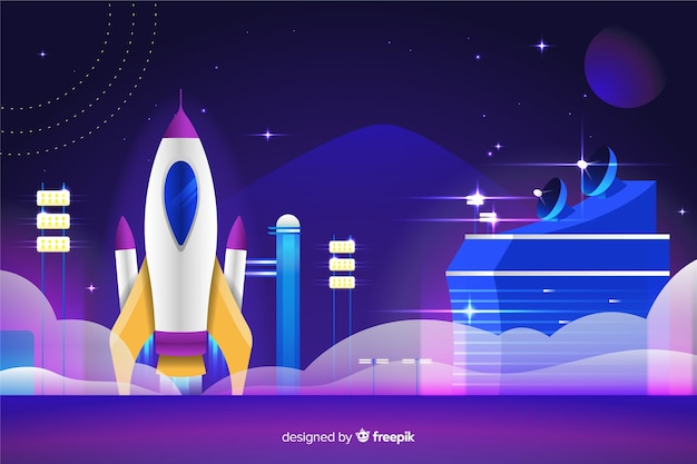 Gradient rocket on a launch pad Free Vector