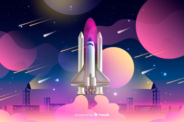 Gradient rocket Free Vector