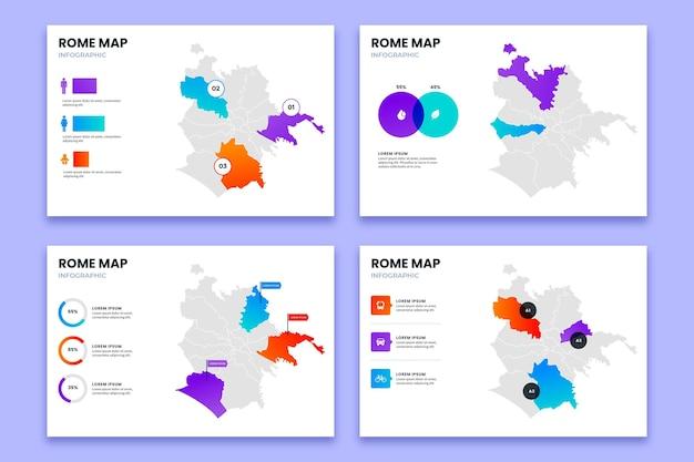 Градиентный шаблон инфографики карты рима Бесплатные векторы