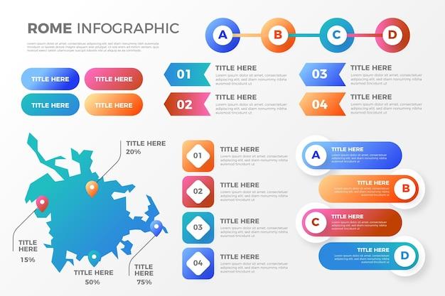 Gradiente infografica mappa roma Vettore gratuito