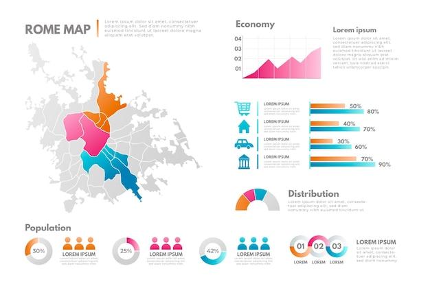 Gradient rome map infographics Free Vector