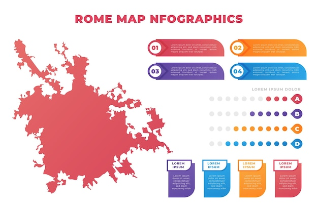グラデーションローマ地図のインフォグラフィック 無料ベクター