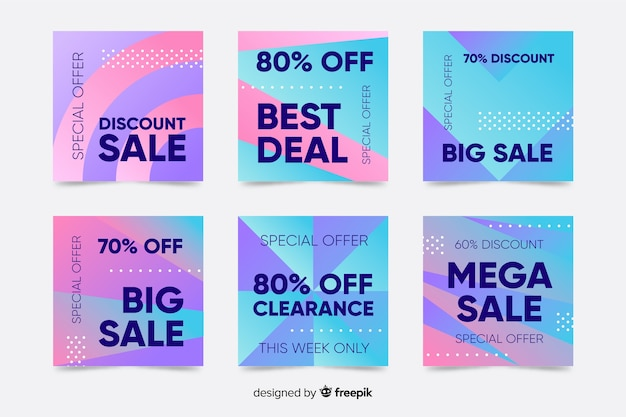 Gradient sale instagram post card collection Free Vector