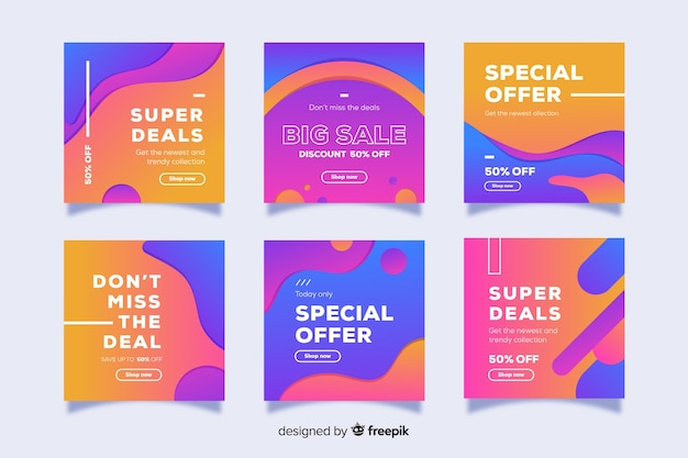 Gradient sale instagram post collection Free Vector
