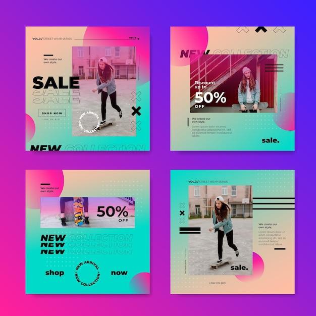 Raccolta di post instagram vendita gradiente Vettore gratuito