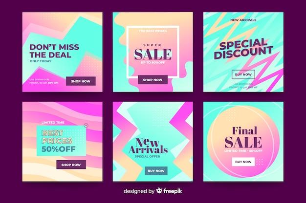 Gradient sale instagram posts pack Free Vector