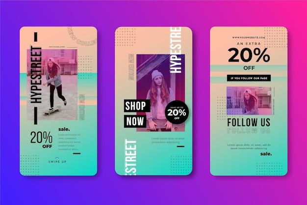 Collezione di storie instagram vendita gradiente Vettore gratuito