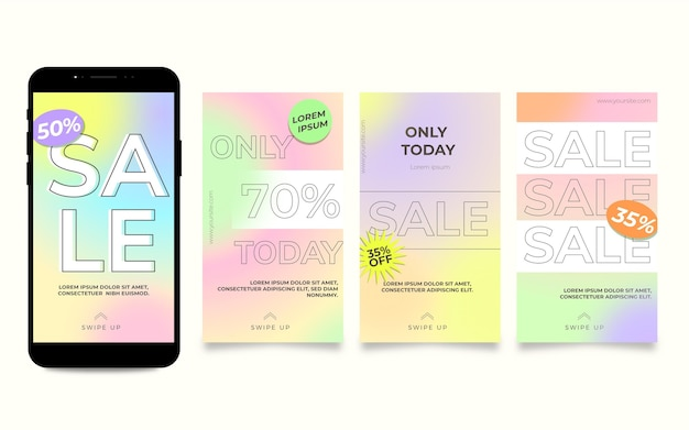 Set di storie di instagram di vendita sfumata Vettore gratuito