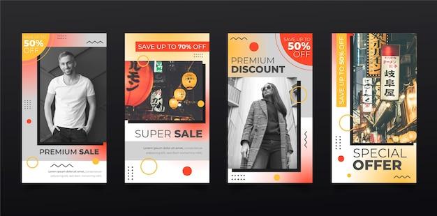 Raccolta di storie di instagram di vendita a gradiente Vettore gratuito