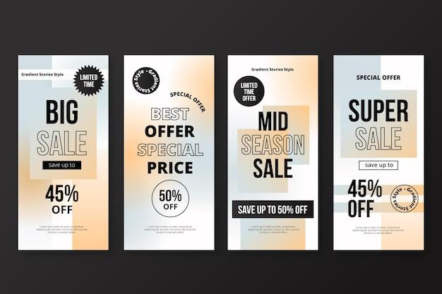 Set di storie di instagram di vendita gradiente Vettore gratuito