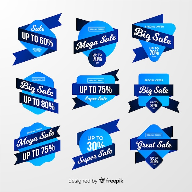 Gradient sales label collection Free Vector