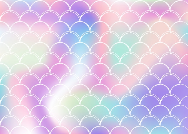 Gradient scale background with holographic mermaid Premium Vector