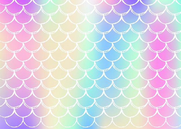 Gradient scale background with holographic mermaid. Premium Vector