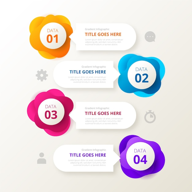 Gradient shape infographic and text boxes Free Vector