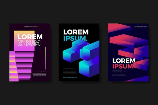 Gradient shapes covers on dark background Free Vector