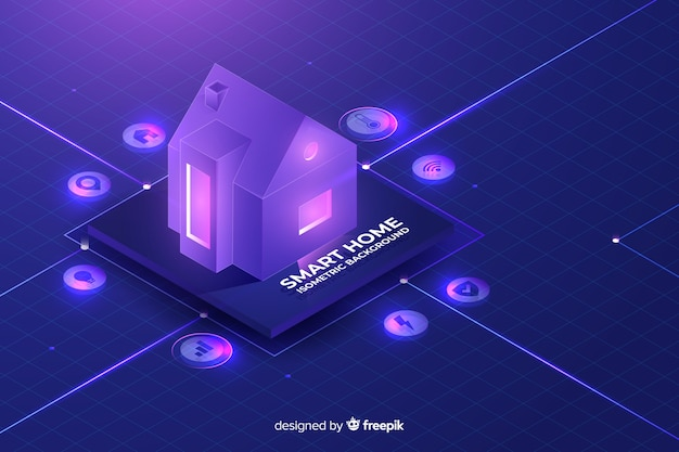 Gradient smart home isometric background Free Vector