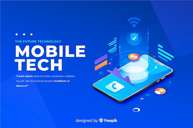 Gradient smartphone isometric technology background Free Vector