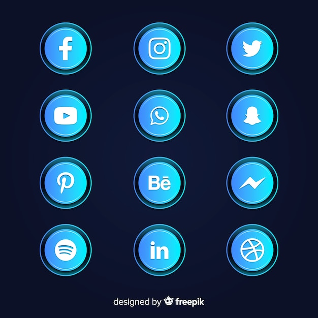Gradient social media icons collection Free Vector