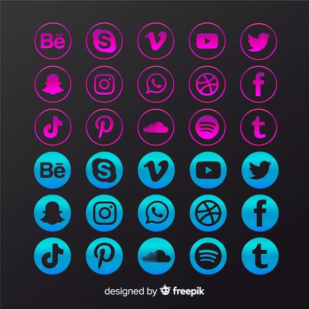Gradient social media logo collection Free Vector