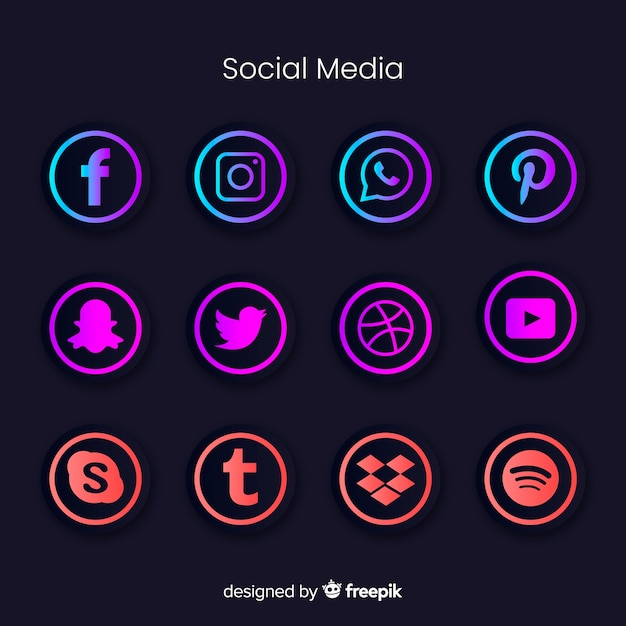 Gradient social media logo collection Free Vector