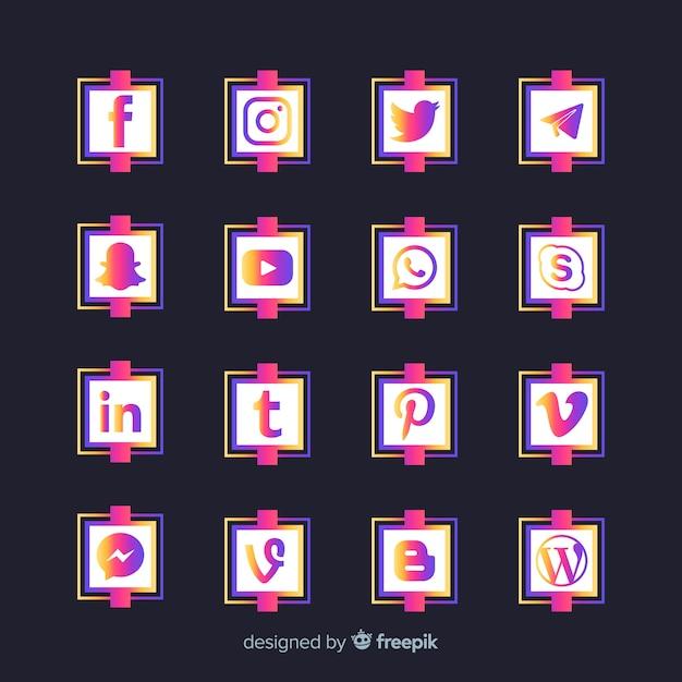 Collezione logo gradiente social media Vettore gratuito