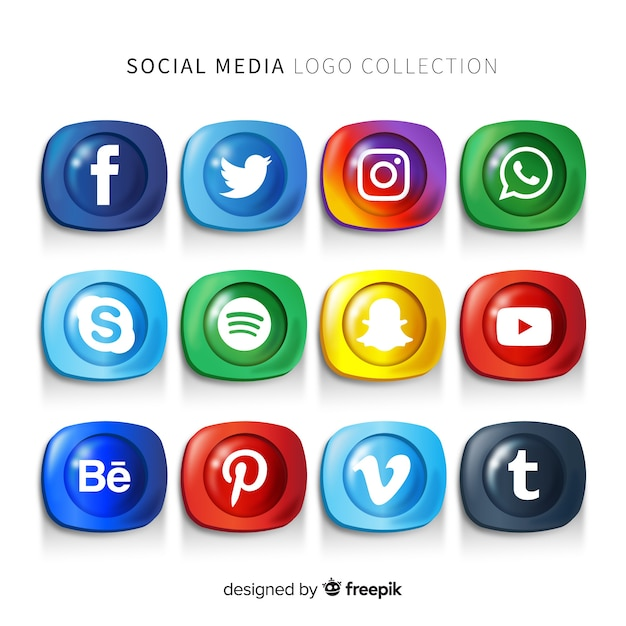 Gradient social media logo pack Free Vector