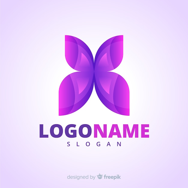 Gradient social media logo with butterfly Premium Vector
