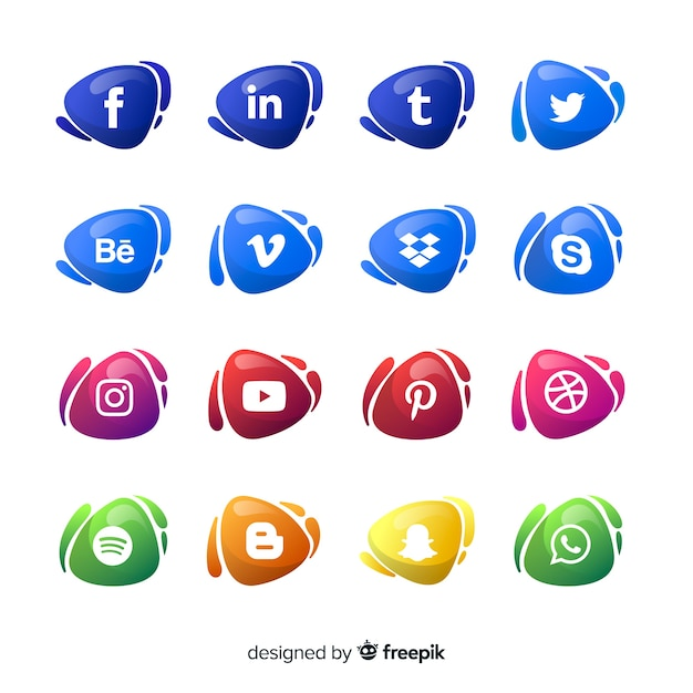 Gradient social media logotypes collection Free Vector