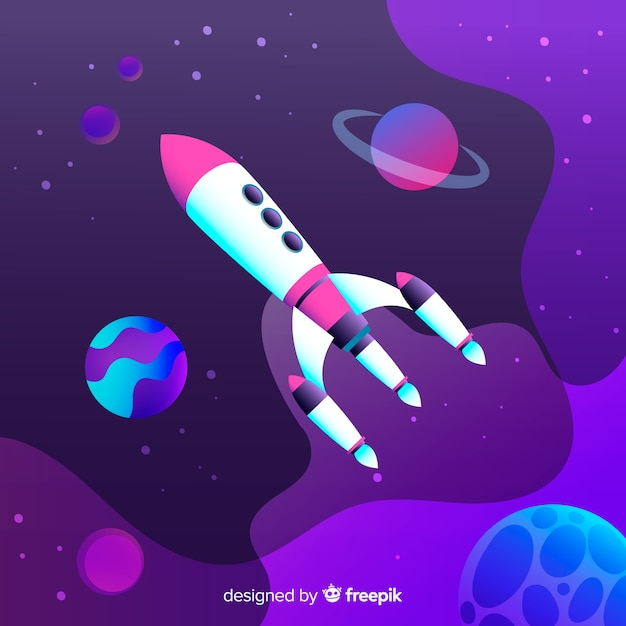 Gradient space background with rocket Free Vector