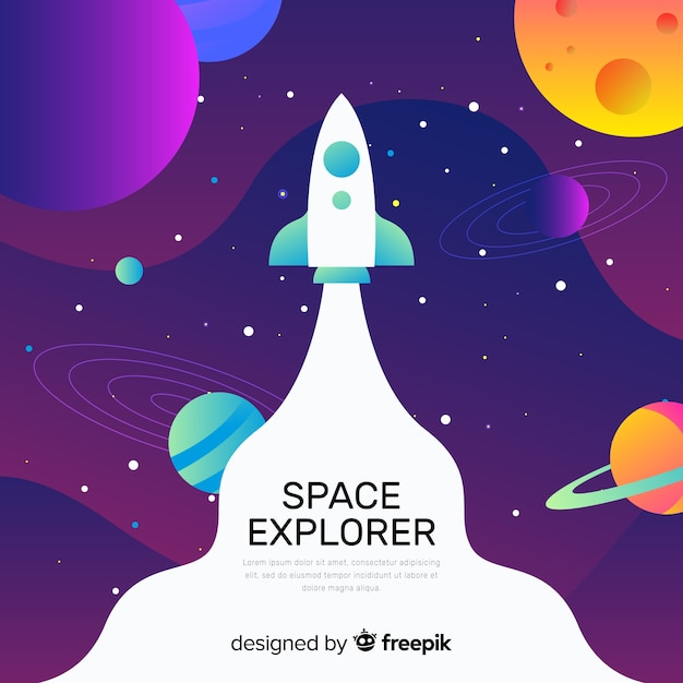 Gradient space with a rocket background Free Vector