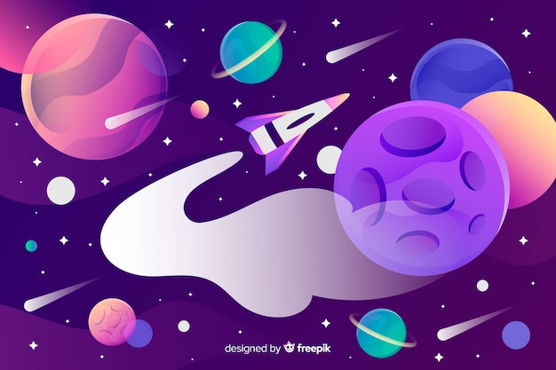 Gradient space with a rocket Free Vector