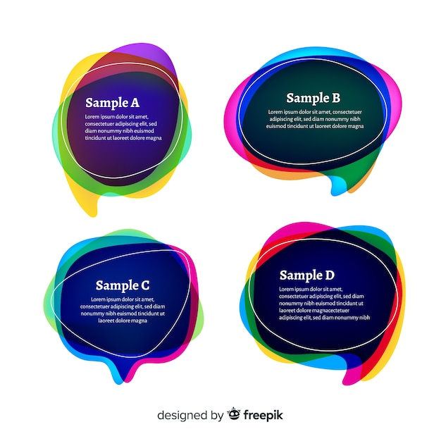 Gradient speech bubble collection on white background Free Vector
