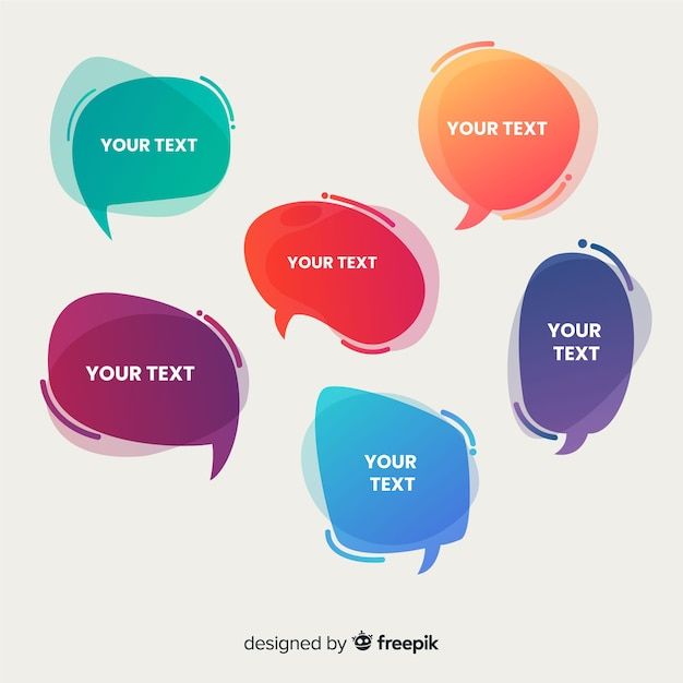 Gradient speech bubble collection with placeholder Free Vector