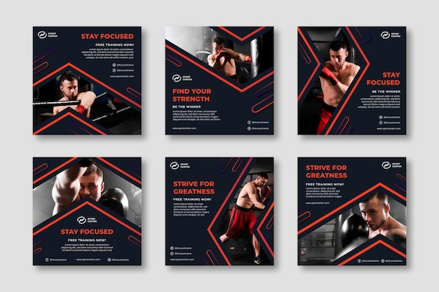Gradient sport instagram posts collection with male boxer Free Vector