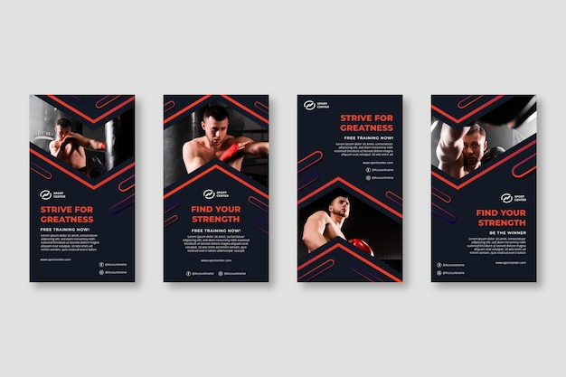 Gradient sport instagram stories collection with male boxer Free Vector