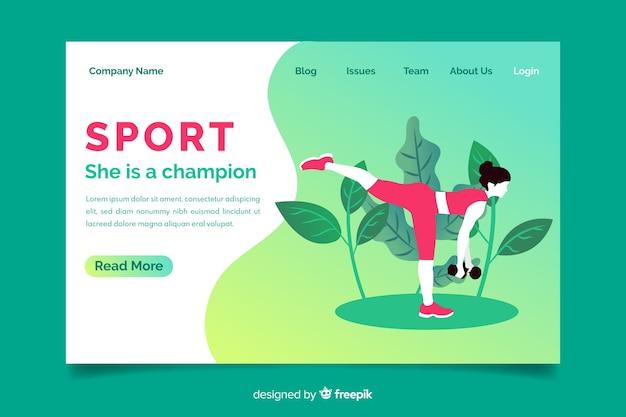 Gradient sport landing page template Free Vector