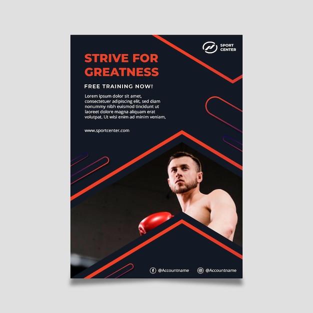 남성 권투 선수와 그라데이션 스포츠 수직 포스터 템플릿 무료 벡터