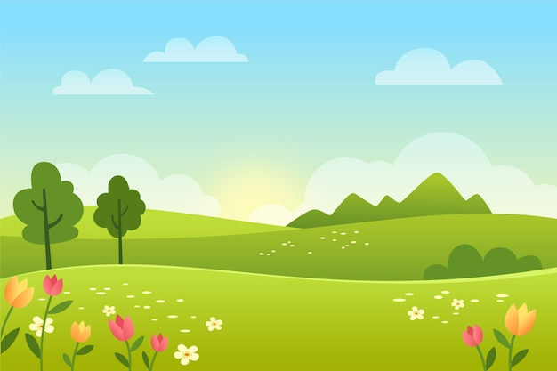 Gradient spring landscape with field Free Vector