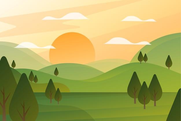 Градиент весенний пейзаж Premium векторы