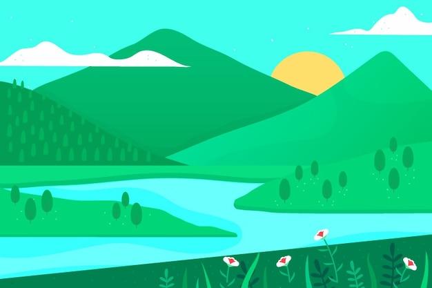 勾配の春の風景 無料ベクター