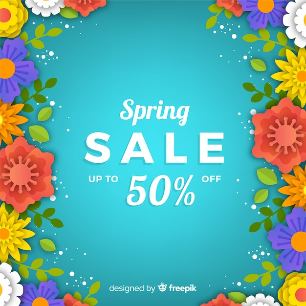 Gradient spring sale background Free Vector