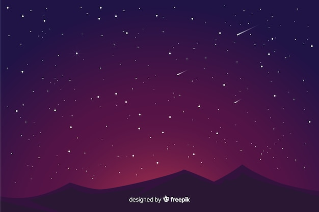 Gradient starry night background and mountains Free Vector