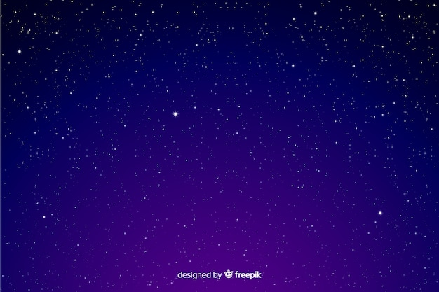 Gradient starry night background in purple shades Free Vector
