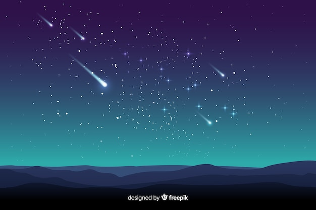 Gradient starry night background with fallen stars Free Vector