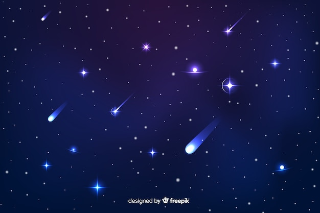 Gradient starry night background with galaxy Free Vector